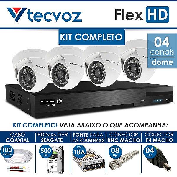 KIT TECVOZ COMPLETO FLEX HD - 4 CÂMERAS DOME