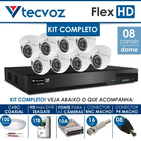 KIT TECVOZ COMPLETO FLEX HD - 8 CÂMERAS DOME