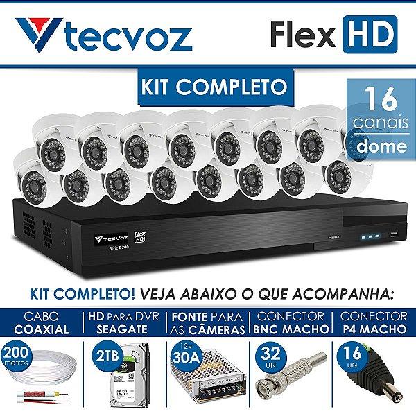 KIT TECVOZ COMPLETO FLEX HD - 16 CÂMERAS DOME
