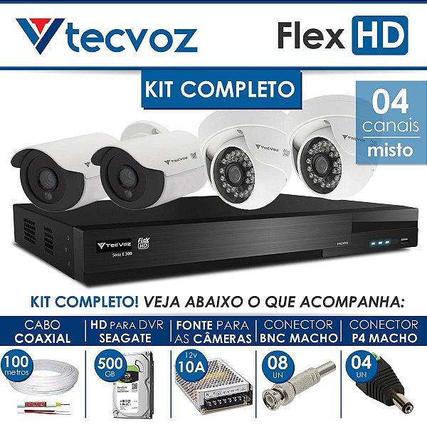 KIT TECVOZ COMPLETO MISTO FLEX HD - 2 CÂMERAS BULLET + 2 CÂMERAS DOME