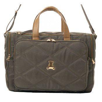 Bolsa Maternidade de Transpassar grande com bolsos laterais térmicos em nylon matelassado fendi com couro bege . TAM :  44 Largura x 31 Altura X 13 Profundidade