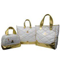 Kit Maternidade triplo Linha Luxo com couro legítimo dourado