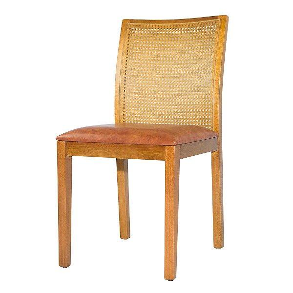 Cadeira Madeira Franca Tela Sextavada Para Mesa de Jantar