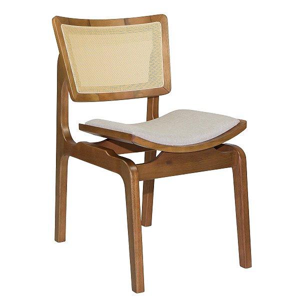 Cadeira Madeira Para Mesa de Jantar Veronica Linho Bege