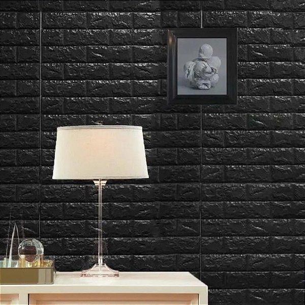 Placa Painel 3D Revestimento PVC Tijolinho Alto Relevo 70 x 70 Preto