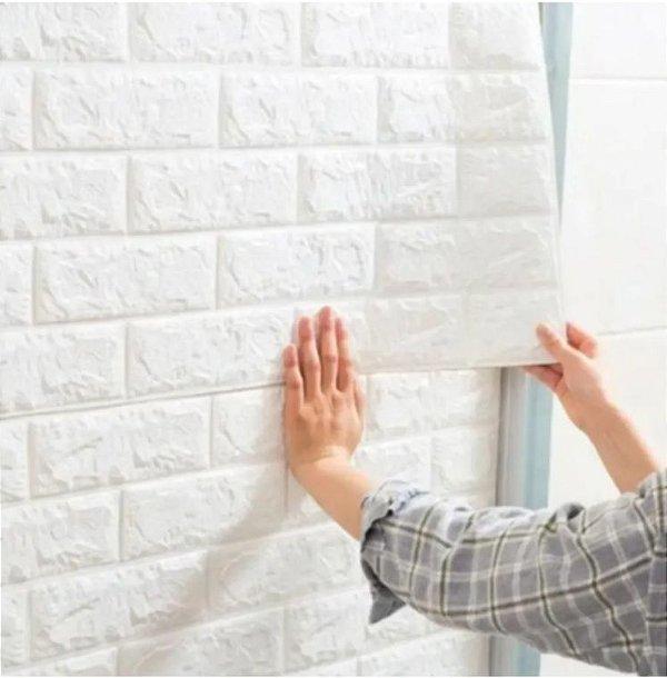 Placa Painel 3D Revestimento PVC Tijolinho Alto Relevo 70 x 70 Branco