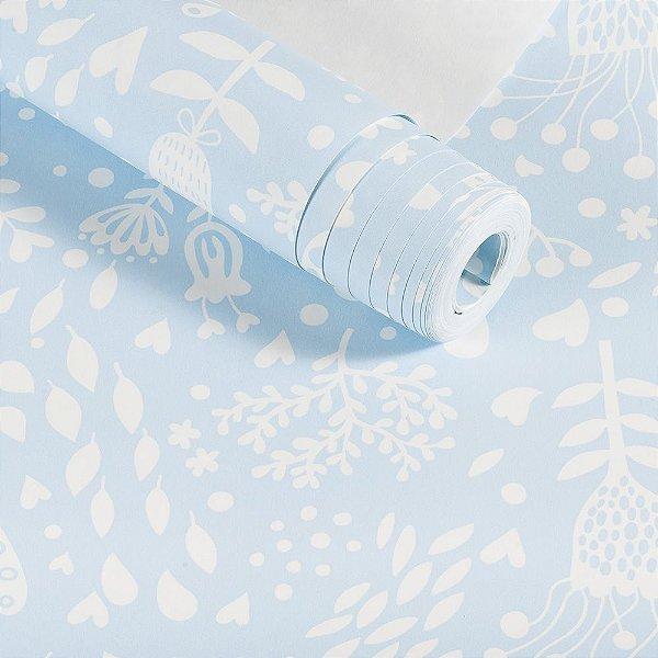 Papel De Parede Importado Lavável Infantil Floral Azul Dekor