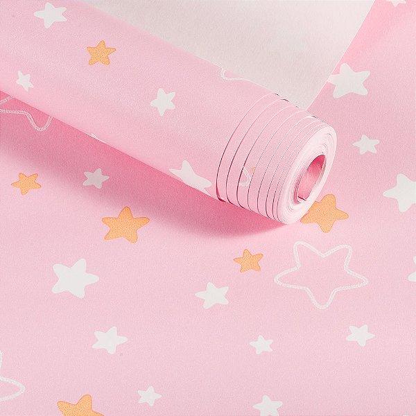 Papel De Parede Infantil Rosa Estrelinhas Lavável Importado Dekor