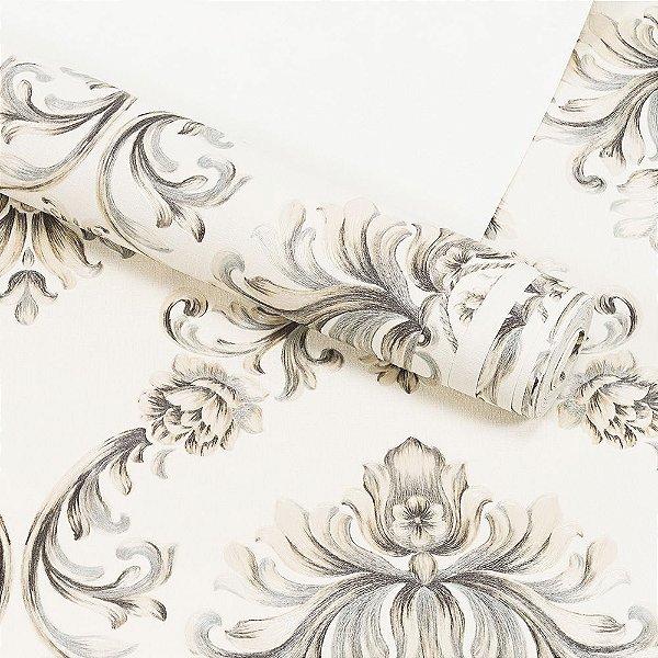Papel de Parede Importado Vinílico Lavável Textura em Relevo Arabesco 8104