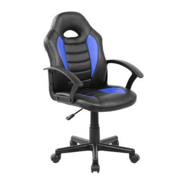 Cadeira Gamer Kids Base Giratória Infantil Preto com Azul