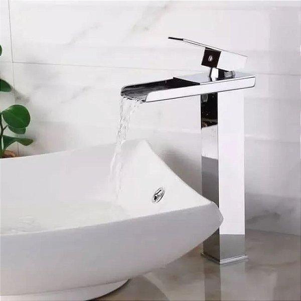 Torneira Cascata Calha Alta Para Banheiro Monocomando Metal
