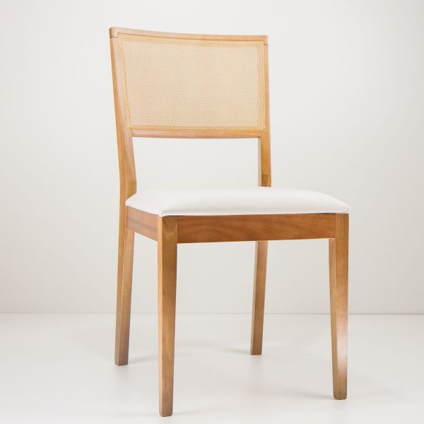 Cadeira Madeira Iris Estofada Tela Sling para Mesa de Jantar