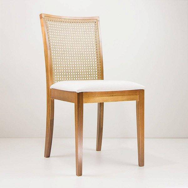 Cadeira Madeira Mel Estofada Tela Sextavada para Mesa de Jantar