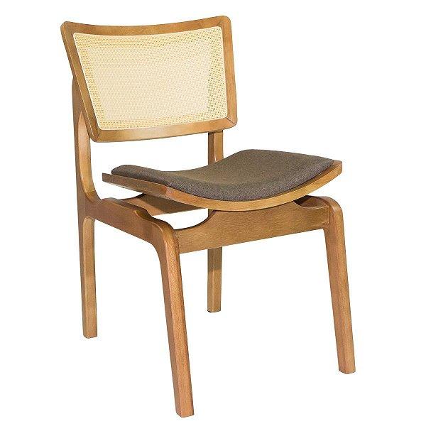 Cadeira Madeira Veronica Estofada em Tela Sling para Mesa de Jantar