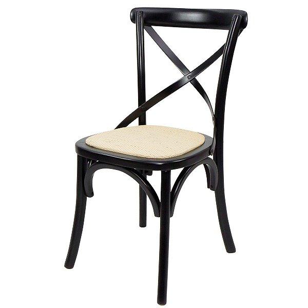 Cadeira Madeira Para Mesa de Jantar Xangai Preto e Palha