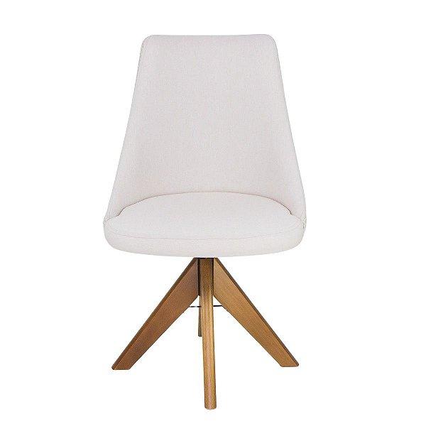Cadeira Madeira Rubi Giratória Para Mesa de Jantar