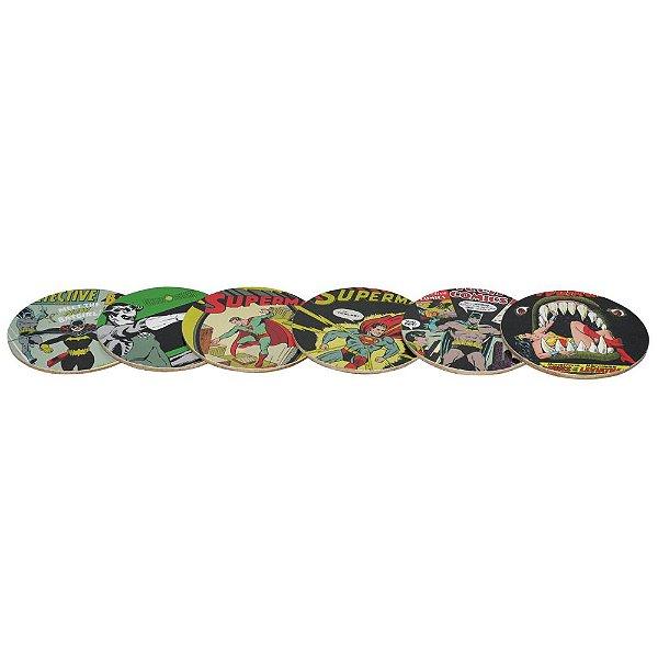 Conjunto 6 porta copos de MDF - Capas DC Comics