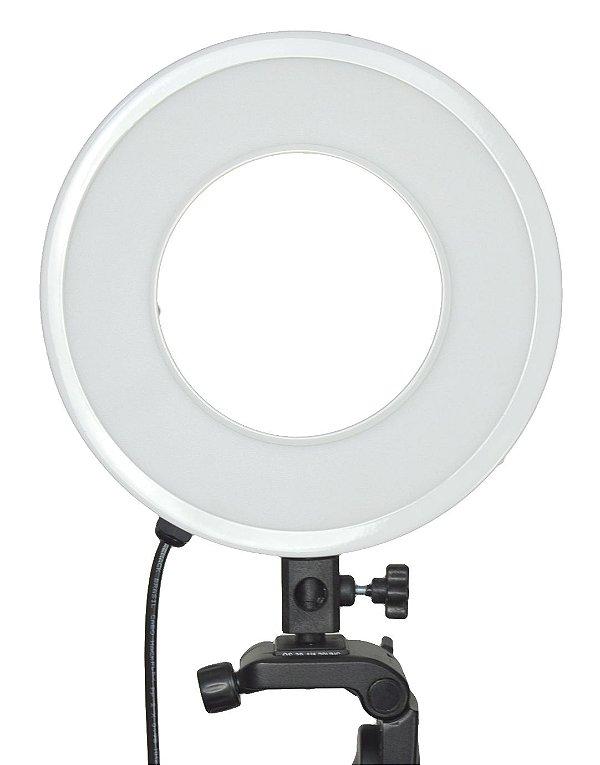 Ring Light BRANCO - Iluminador LED 25w - Luz da Lua - 28cm Diâmetro Com Tripé BRANCO - Foto e Make