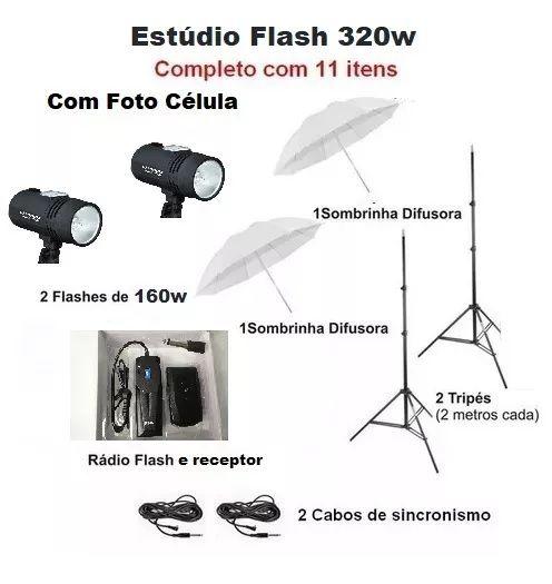 Estúdio Fotográfico Kit Tocha Flash 127v - 320w