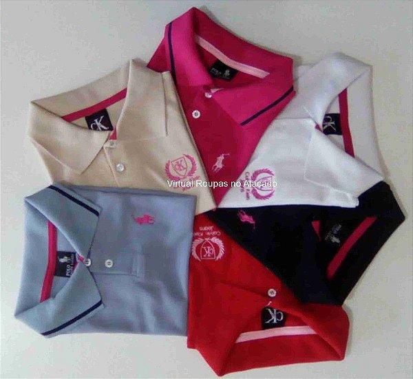 Camisa Polo Piquet Infantil Feminina- Kit 5 Peças