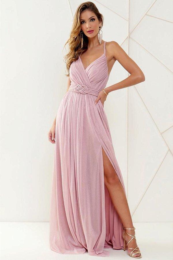 Vestido De Festa Longo Lurex Electra rosa Aluguel