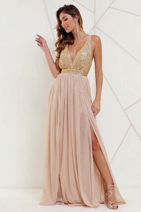 Vestido De Festa Longo Lurex Dourado Alexandra Aluguel