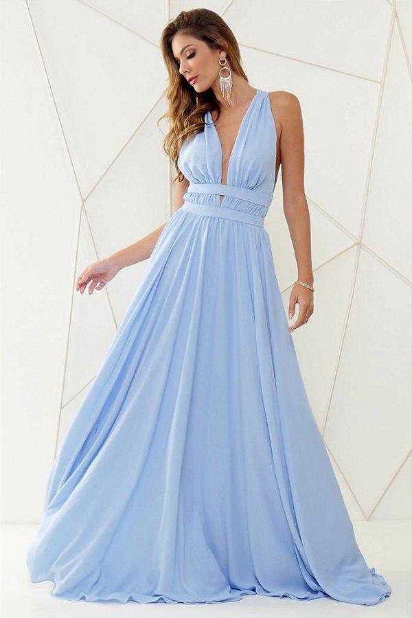 Vestido De Festa Longo Liso Azul Serenity Clara