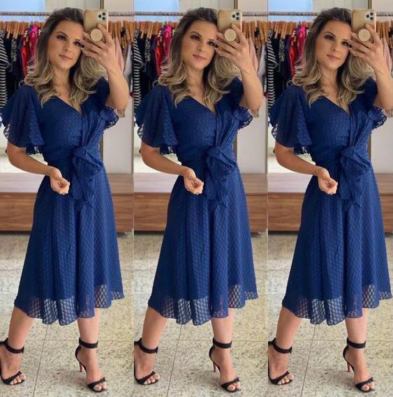 Vestido Midi De Festa Azul