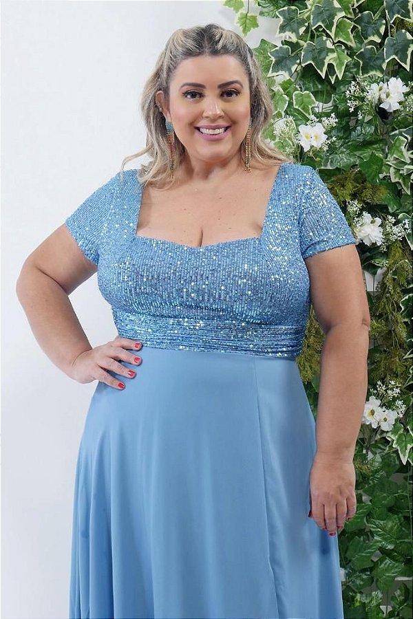 Vestido De Festa Longo Adalia Azul Serenity Bordado Aluguel