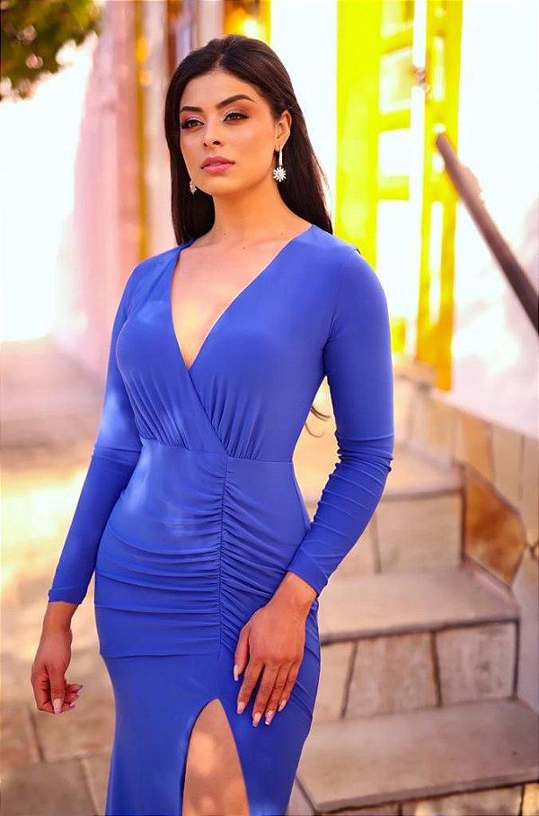 Vestido De Festa Longo Mariska Azul Royal Aluguel