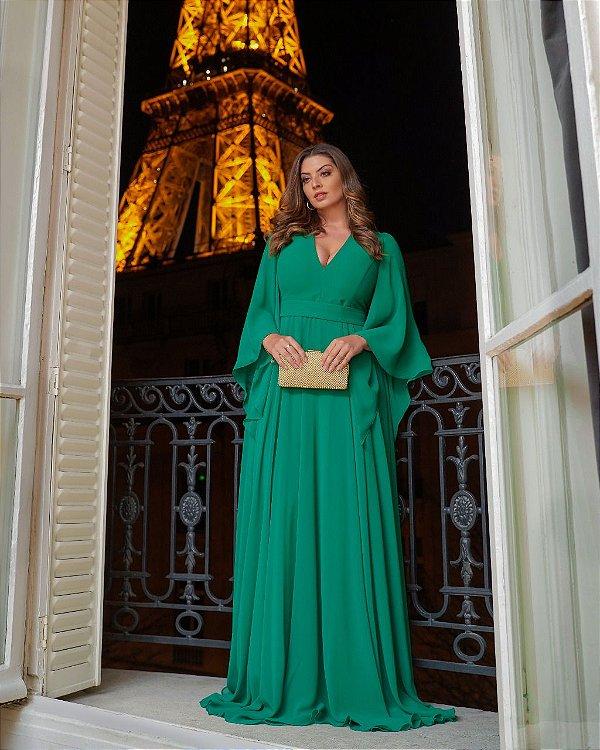 Vestido De Festa Longo Lucile Verde Aluguel