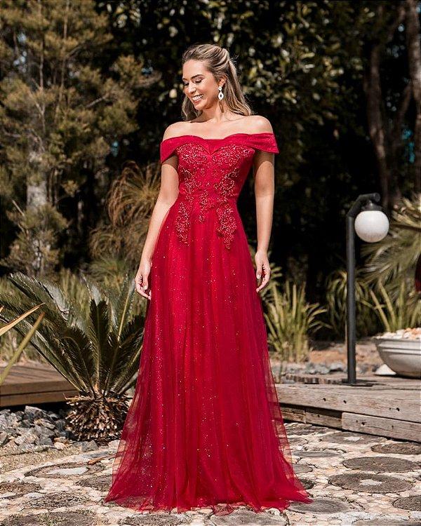 Vestido De Festa Longo Vermelho Patricia Aluguel