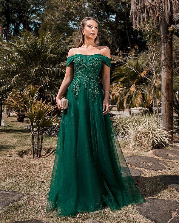 Vestido De Festa Longo Verde Patricia Aluguel