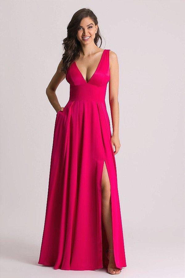 Vestido Longo De Festa Pink Paulina Aluguel