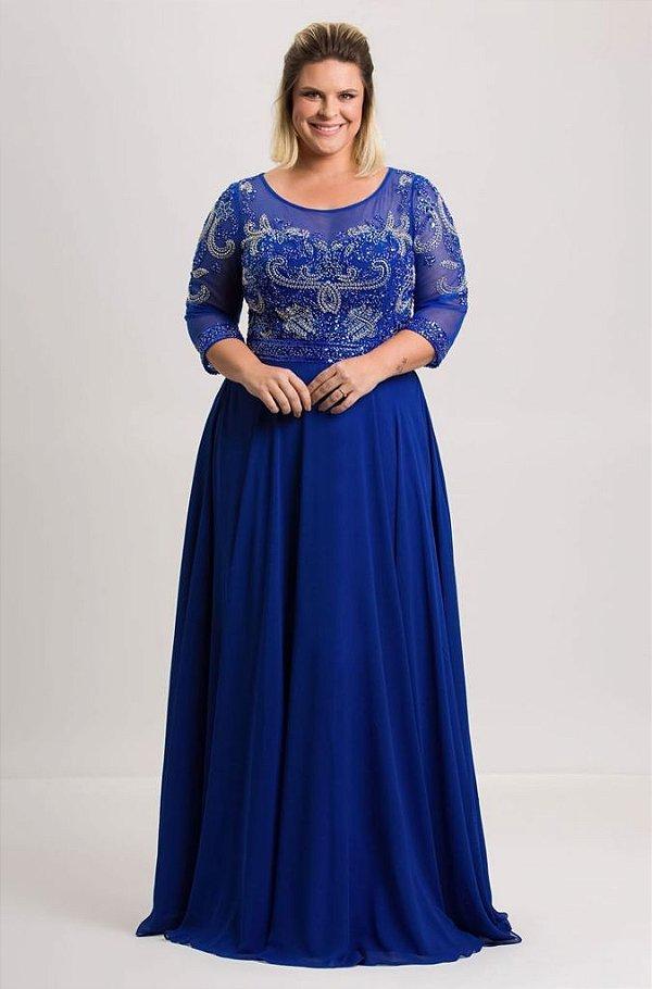 Vestido Longo De Festa Azul Royal Sandra Aluguel