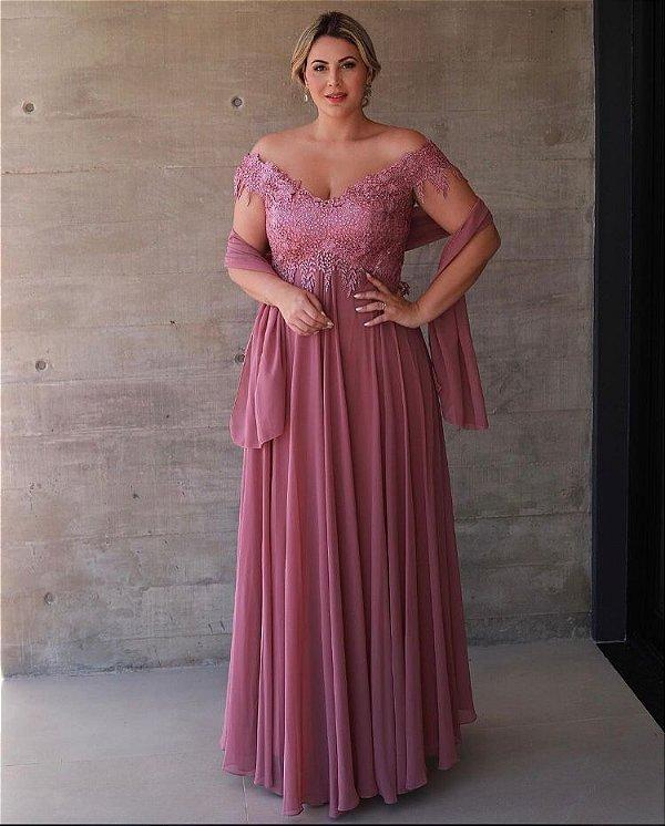 Vestido De Festa Longo Rosa Antigo Dandara Aluguel