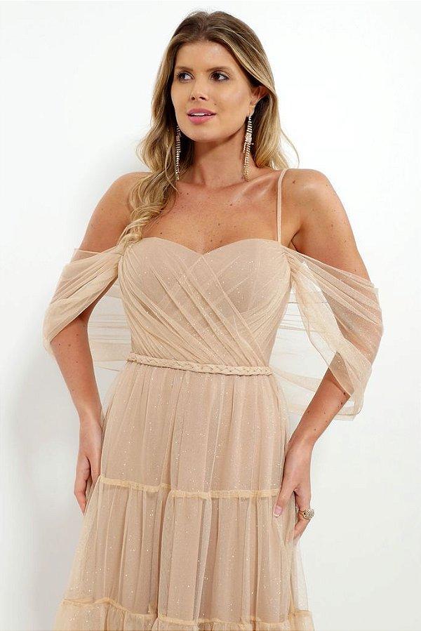 Vestido De Festa Longo Lurex Dourado Cintia Aluguel