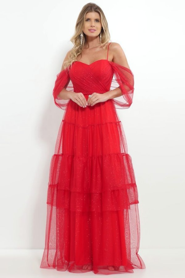 Vestido De Festa Longo Lurex Vermelho Cintia Aluguel