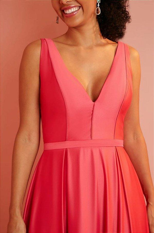 Vestido De Festas Longo Pink Paola Aluguel