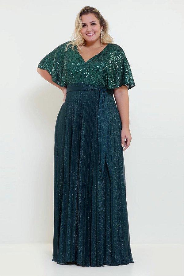 Vestido De Festa Longo Lurex Verde Bordado Luani