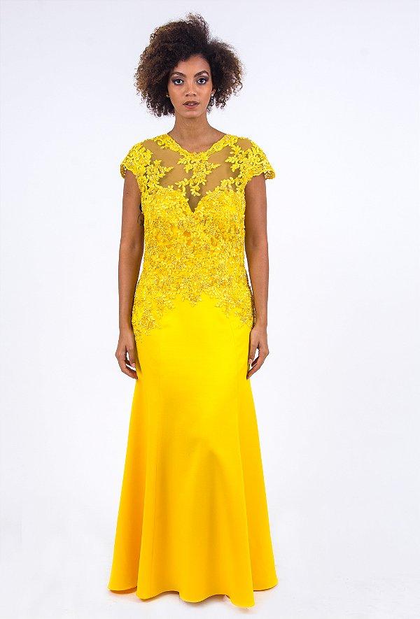 Vestido de Festa Amarelo Longo Renda Decote Liso Amanda