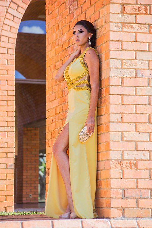 Vestido de Festa Amarelo longo Decote Bordado Liso Virginia