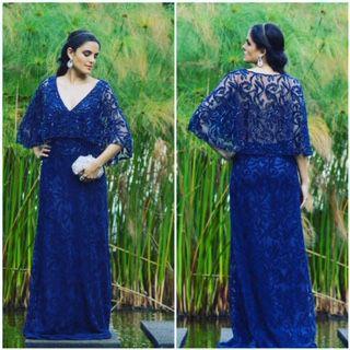 Vestido de Festa Azul Escuro Longo Renda Capa Costa Maina