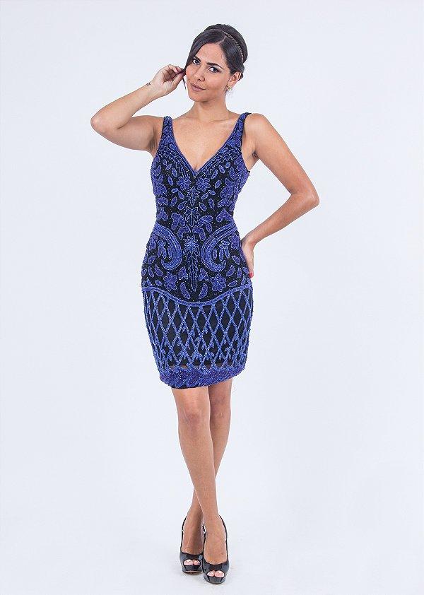 Vestido de Festa Azul Curto Decote Bordado Paula Aluguel