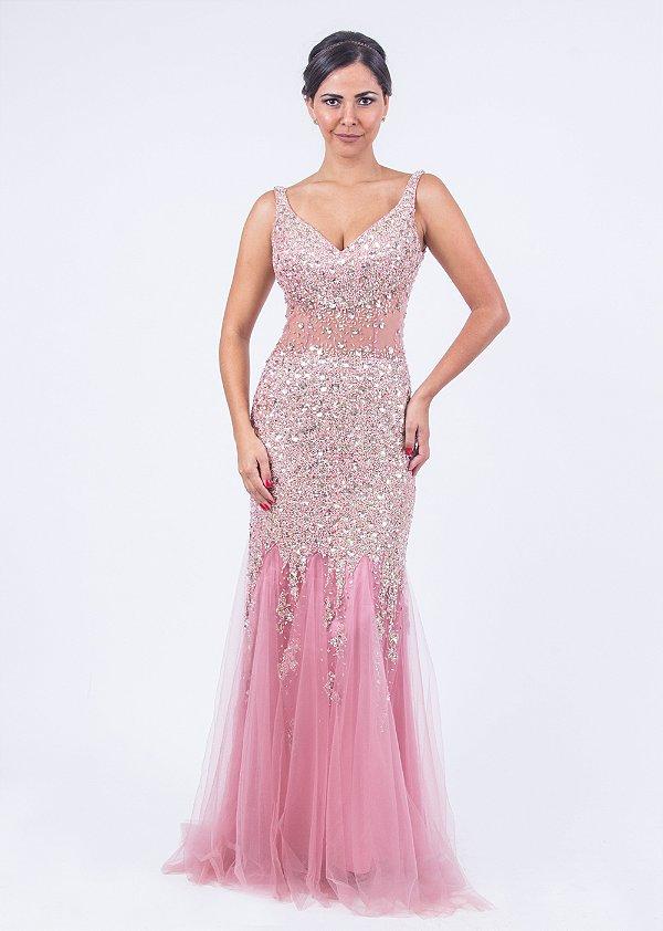Vestido de Festa Rosa Longo Sereia Bordado Kelly Aluguel