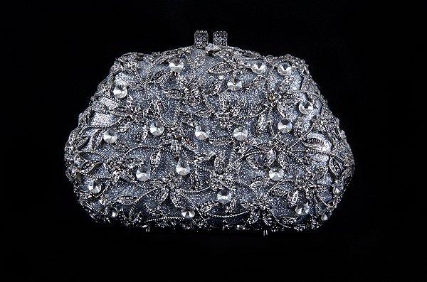 Clutch Prata com pedras New York Aluguel