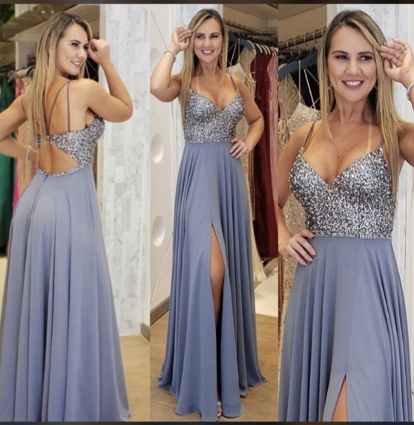 Vestido de Festa Azul Serenity Longo Bordado  Athena Aluguel