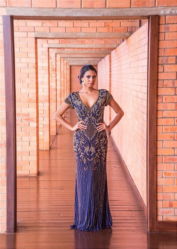 Vestido de Festa Azul Longo Sereia Decote Bordado Julia Roberts