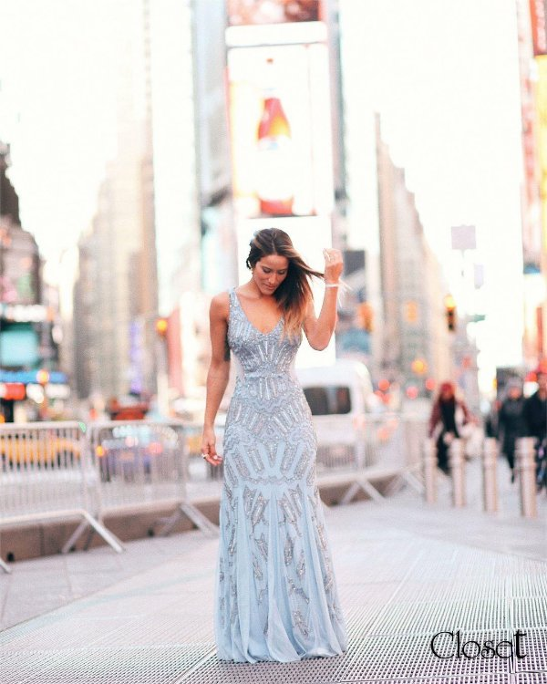 Vestido de Festa Azul Serenity Longo Sereia Bordado Daryl Aluguel