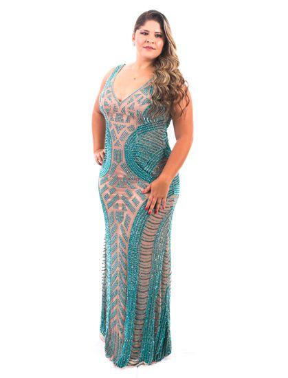 Vestido de Festa Plus Size Verde Longo Decote Bordado Ornellas